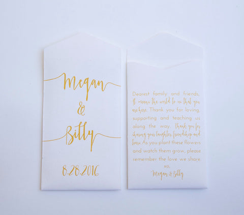 White & Gold Custom Seed Packet Wedding Favors - Many Colors Available