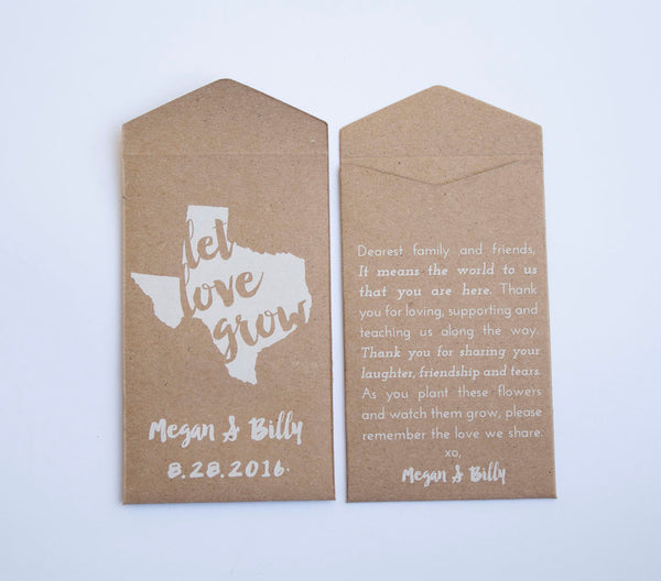 Texas Custom Seed Packet Wedding Favors - Many Colors Available