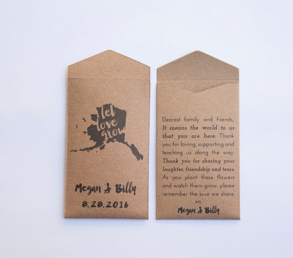 50+ Alaska Rustic Custom Seed Packet Wedding Favors - Rustic Kraft Seed Packet Envelope - Alaska State Wedding Favor - Many Colors Available