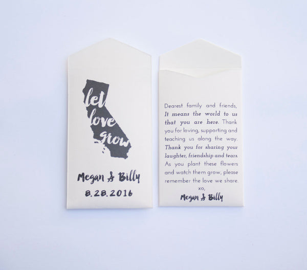 California Custom Seed Packet Wedding Favors - State Wedding Favor - United States Wedding Favor - CA seed packet - Many Colors Available