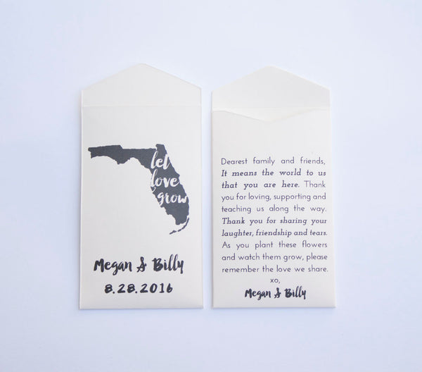 50+ Florida Custom Seed Packet Wedding Favors - State Wedding Favor - Florida Favor for Guests - Custom Seed Envelope -Many Colors Available