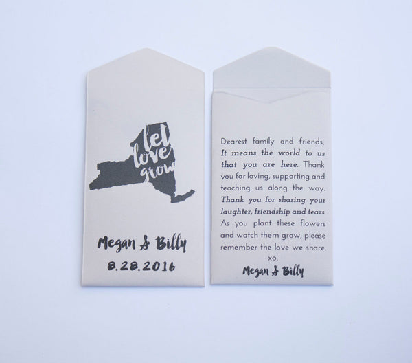 50+ New York Seed Packet Envelope - New York Custom Seed Packet Wedding Favors - Guest Favor- State Flower Favor - Many Colors Available