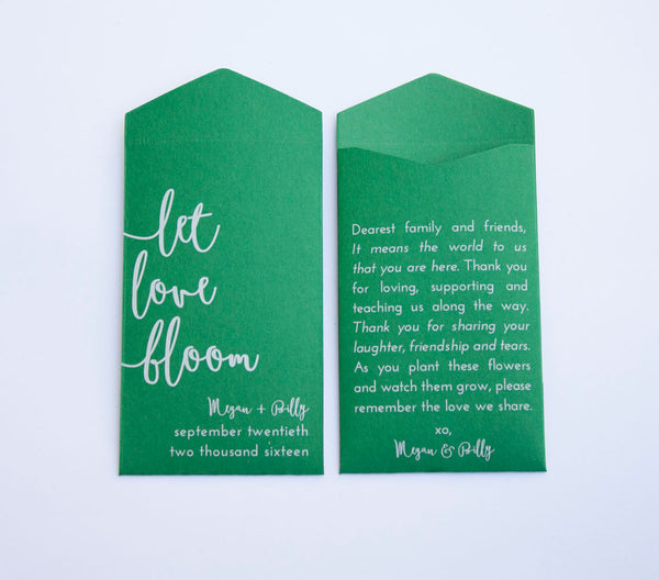 Royal Blue Let Love Bloom Custom Seed Packet Wedding Favors - Many Colors Available