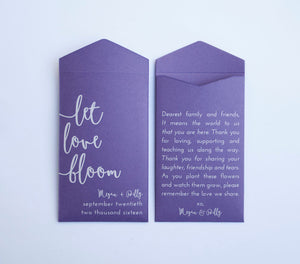 Purple Let Love Bloom Custom Seed Packet Wedding Favors - Many Colors Available