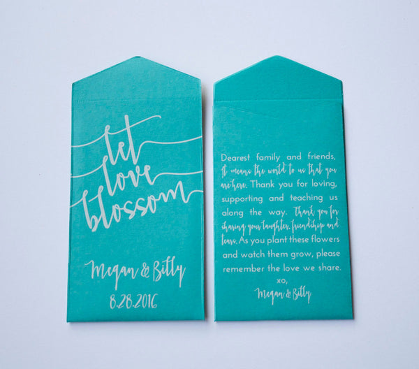 Teal Let Love Blossom Custom Seed Packet Wedding Favors - Many Colors Available