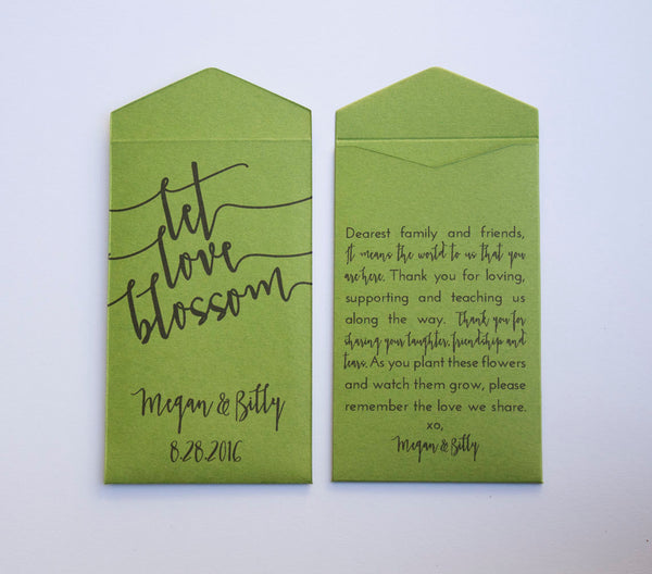 Grass Green Let Love Blossom Custom Seed Packet Wedding Favors - Unique Wedding Favor for Guests - Personalized Packet Many Colors Available