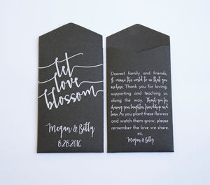 Black Let Love Blossom Custom Seed Packet Wedding Favors - Unique Favor for Guests - Rustic Wedding Favor Envelope - Many Colors Available