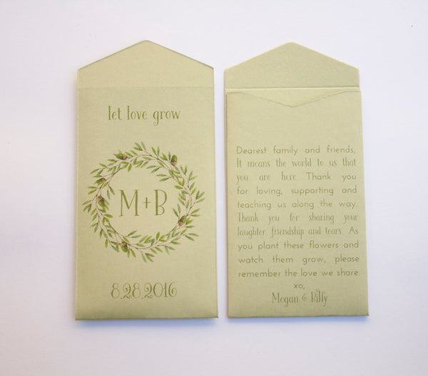 Autumn | Fall Custom Seed Packet Wedding Favors - Acorn Design Seed Envelope Favor - Bridal Shower Seed Packet -Many Colors Available