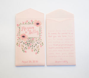 Spring Floral Custom Seed Packet Wedding Favors - Seed Envelope Wedding Favor - Personalized Wedding Favor - Many Colors Available