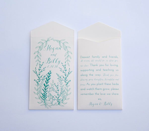50+ Cream + Mint Green Herb Custom Seed Packet Wedding Favors - Simple Herb Seed Wedding Favor Envelope - Many Colors Available