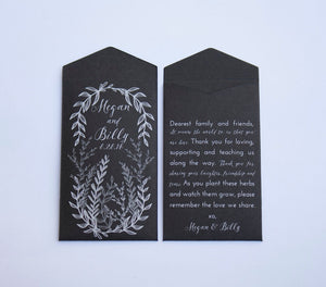 50+ Black & White Herb Seed Packet Wedding Favor Design - Classic Wedding Favor - Personalized Seed Packet - Custom - Many Colors Available