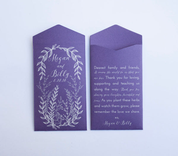 50+ Dark Purple Herb Wreath Custom Seed Packet Wedding Favors - Many Colors Available