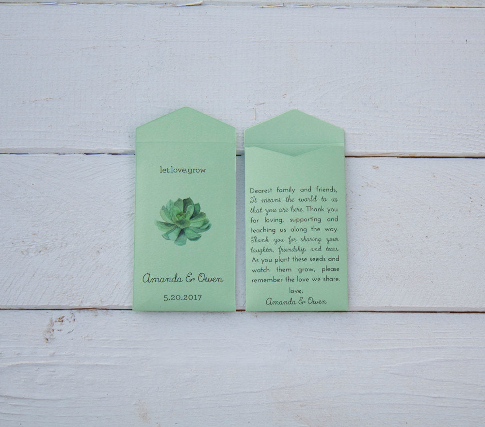 Succulent Seed Packet Favor - Let Love Grow - Light Green Custom Seed Packet Spring Wedding Favors - Seed Envelope - Many Colors Available