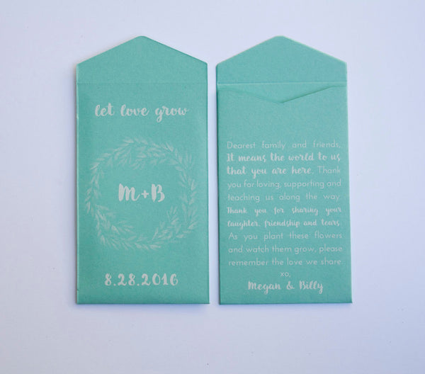 50+ Kraft & White Ink Custom Seed Packet Wedding Favors - Many Colors Available