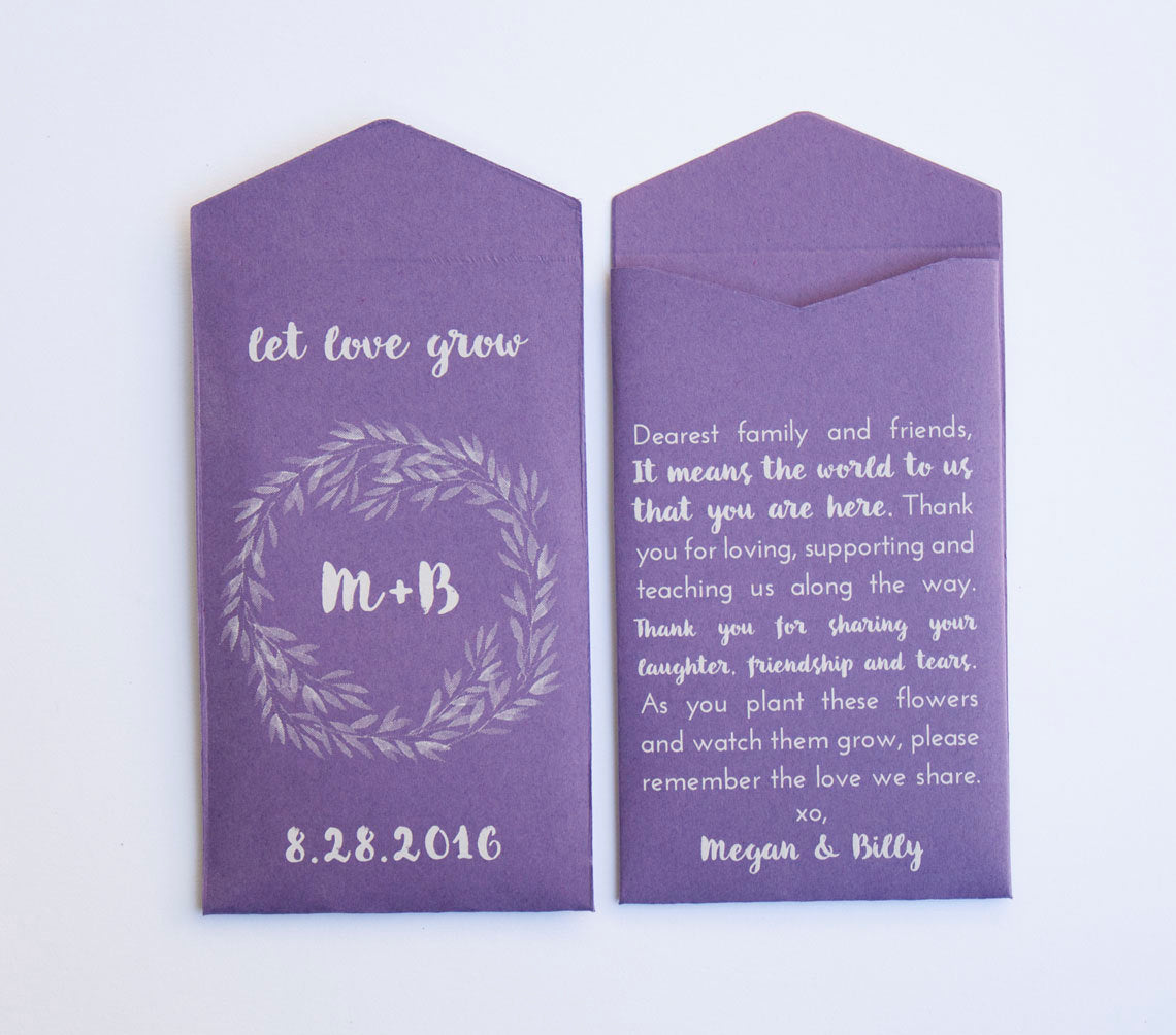 Let Love Grow Purple & White Ink Custom Seed Packet Wedding Favors - Personalized Wedding Favor - Seed Envelope - Many Colors Available