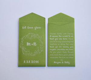50+ Let Love Grow Green & White Ink Custom Seed Packet Wedding Favors - Personalized Seed Packet Favor - Many Colors Available