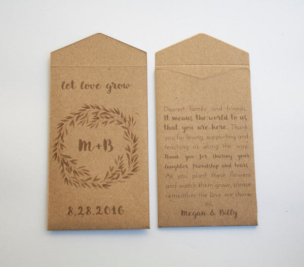 50+ Custom Kraft Seed Packet Wedding Favors - Personalized Seed Packet Wedding Favor - Bridal Shower Seed Packet - Many Colors Available
