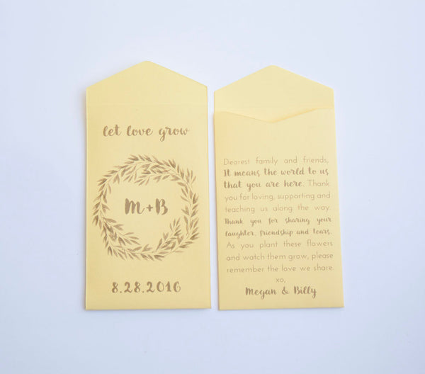 Let Love Grow Seed Packet Wedding Favors - Seed Envelope - Sage Green - Rustic - Personalized - Custom - Other Colors Available