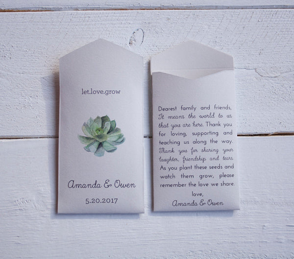 50+ Cream Succulent Design Custom Seed Packet Wedding Favors - Personalized Seed Envelope - Succulent Wedding Favor - Many Colors Available