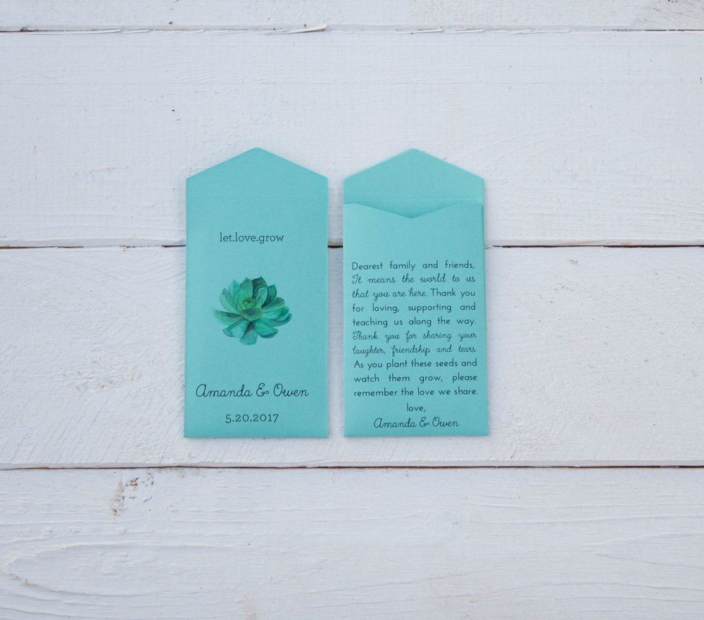 Turquoise Let Love Grow Succulent Custom Seed Packet Wedding Favors - Beach Wedding Favor - Seed Envelope Favor - Many Colors Available