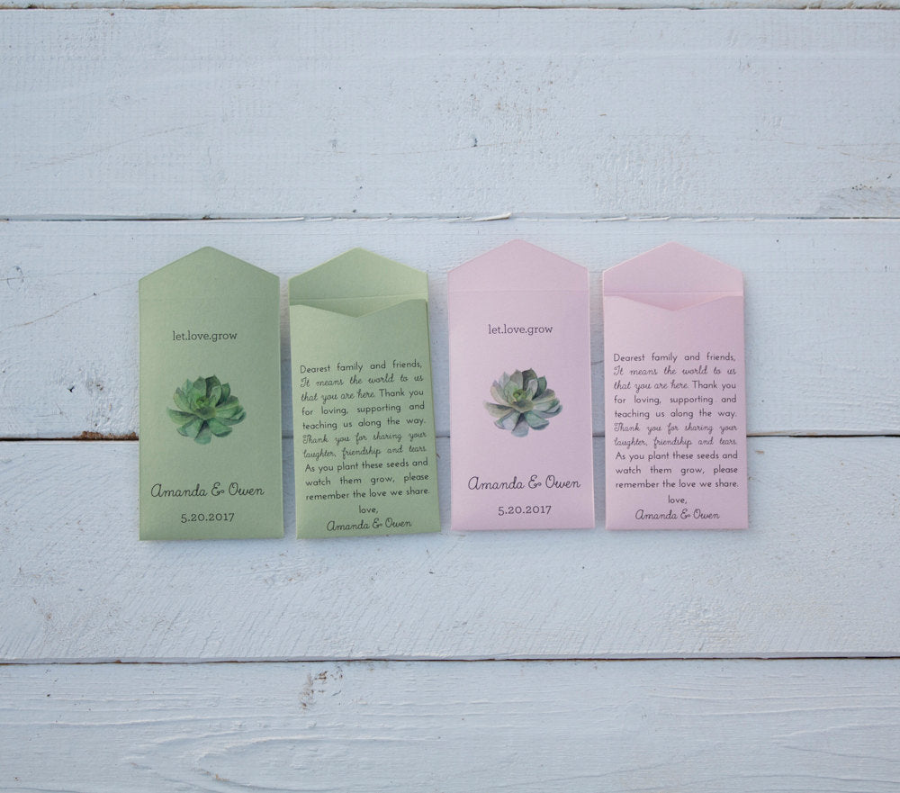Let Love Grow Sage Green and Pink Custom Succulent Seed Packet Wedding Favors - Personalized Seed Envelope Favor - Many Colors Available