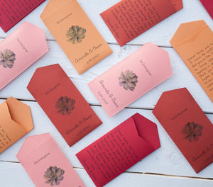 50+ Succulent Red, Orange, Coral Custom Seed Packet Spring Wedding Favors - Many Colors Available