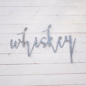 Whiskey Metal Sign - Industrial Bar Sign - Wedding Bar Sign - Farmhouse Sign - Lake House Sign - Beach House Sign