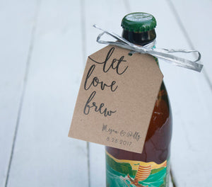 Let Love Brew Personalized Beer Tag Wedding Favors - Custom Beer Wedding Tags -  Wedding Favor Tags - Many Colors Available