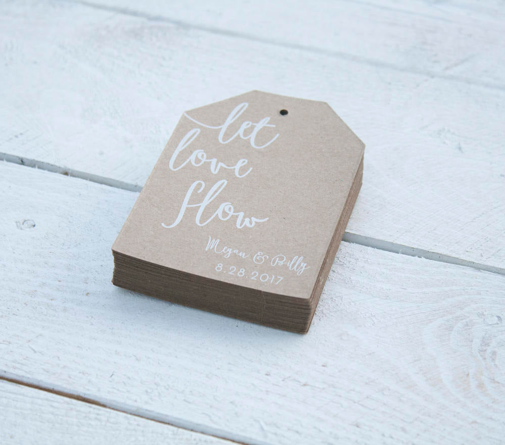 Let Love Flow Kraft Tag Wedding Favors - Custom Beer or Wine Wedding ...