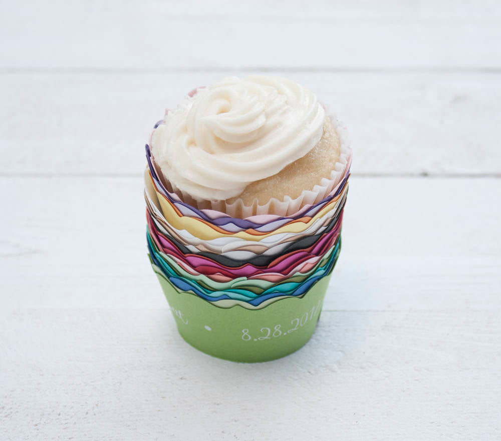 Custom Wedding Cupcake Wrappers - Love is Sweet - Custom Cupcake Wraps - Personalized Cupcake Wrap - Bridal Shower - Many Colors Available
