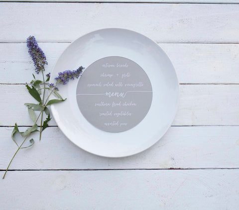 25+ Round Gray Wedding Plate Menu - Rustic Wedding Menu Cards - Printed Wedding Menu Cards - Round Plate Menu Cards -  Many Colors Available