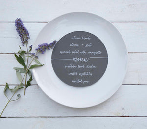 25+ Round Slate Gray Wedding Plate Menu - Rustic Wedding Menu Cards - Printed Wedding Menu - Round Plate Menu Cards -  Many Colors Available