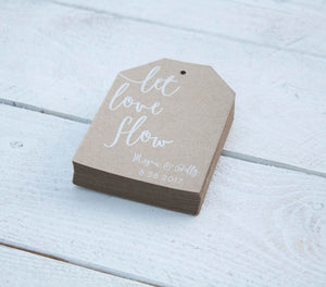 Let Love Flow Kraft Tag Wedding Favors - Custom Beer or Wine Wedding Tags -  Wedding Favor Tags - White Ink Printing - Many Colors Available