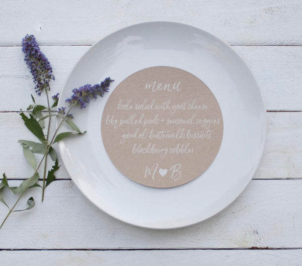 25+ Yellow Round Wedding Plate Menu - Rustic Wedding Menu Cards - Custom Wedding Menu - Round Plate Menu Cards -  Many Colors Available