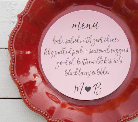25+ Light Pink Round Wedding Plate Menu - Rustic Wedding Menu - Custom Wedding Menu - Round Plate Menu Cards -  Many Colors Available