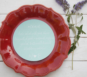 25+ Eggshell Blue Round Wedding Plate Menu - Rustic Wedding Menu - Custom Wedding Menu - Round Plate Menu Cards -  Many Colors Available