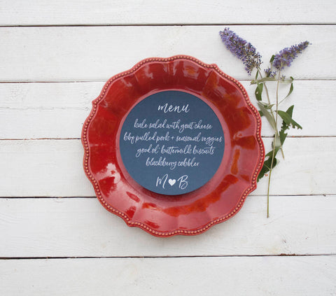 25+ Navy Blue Wedding Plate Menu - Rustic Wedding Menu Cards - Navy Custom Wedding Menu - Round Plate Menu Cards -  Many Colors Available