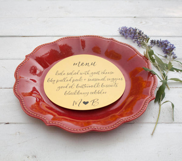 25+ Fuchsia Wedding Plate Menu - Rustic Wedding Menu Cards - Hot Pink Custom Wedding Menu - Round Plate Menu Cards -  Many Colors Available