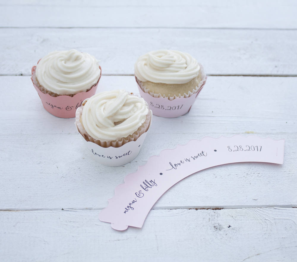 Love is Sweet Light Pink Wedding Cupcake Wrappers - Custom Cupcake Wraps - Personalized Cupcake Wrap - Bridal Shower - Many Colors Available