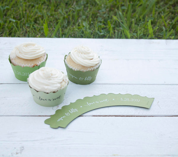 Green Love is Sweet Wedding Cupcake Wrappers - Custom Cupcake Wraps - Personalized Cupcake Wrap - Bridal Shower - Many Colors Available