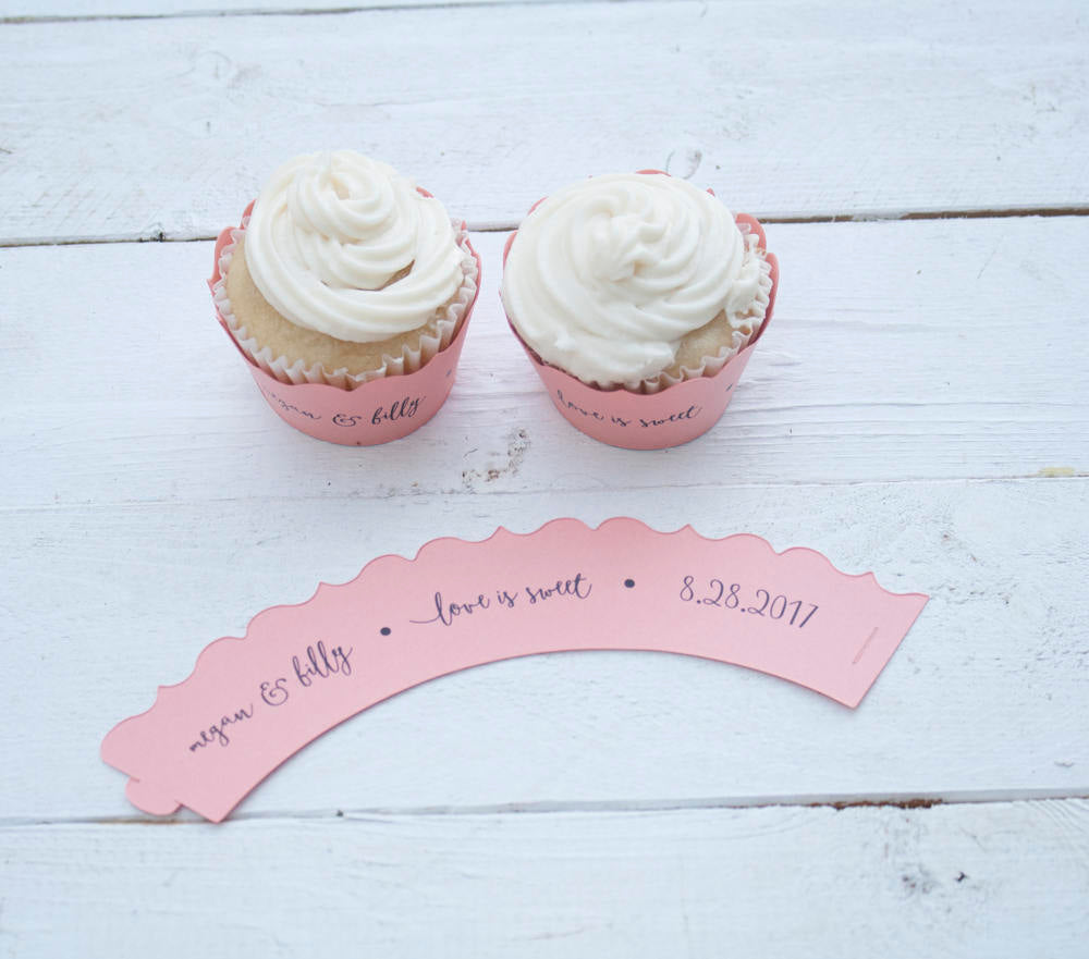Coral Wedding Custom Cupcake Wrappers - Love is Sweet Cupcake Liners - Personalized Cupcake Wrap - Bridal Shower - Many Colors Available