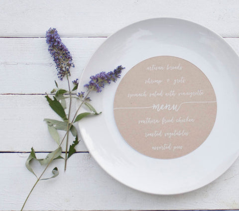 25+ Round Kraft Wedding Plate Menu - Rustic Wedding Menu Table Decor - Custom Wedding Menu - Round Plate Menu Cards -  Many Colors Available