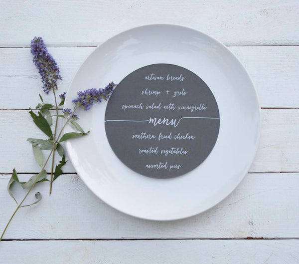25+ Round Teal Wedding Plate Menu - Rustic Wedding Menu Cards - Printed Wedding Menu Cards - Round Plate Menu Cards -  Many Colors Available