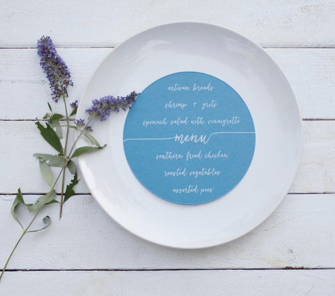 25+ Lake Blue Wedding Plate Menu - Rustic Wedding Menu Cards - Custom Wedding Menu - Round Plate Menu Cards -  Many Colors Available