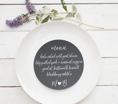 25+ Black Wedding Plate Menu - Rustic Wedding Menu Cards - Custom Wedding Menu - Round Plate Menu Cards -  Many Colors Available