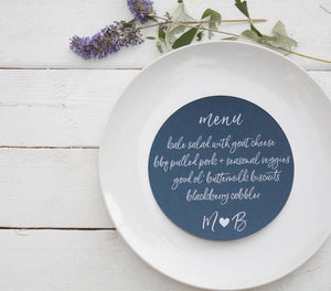 Navy Blue Wedding Plate Menu (set of 10) - Rustic Wedding Menu Cards - Navy Custom Wedding Menu - Round Plate Menu Cards -  Many Colors Available