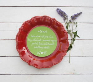 25+ Green Round Wedding Plate Menu - Rustic Wedding Menu Cards - Custom Wedding Menu - Round Plate Menu Cards -  Many Colors Available