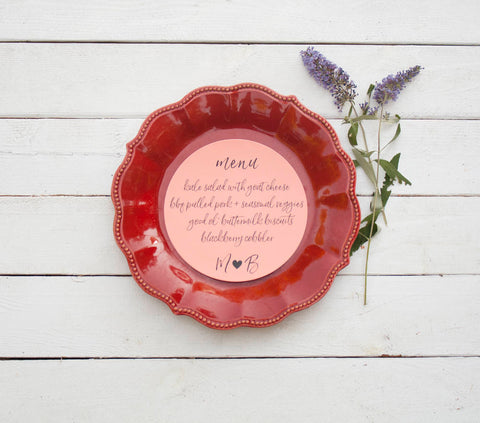 25+ Papaya Orange Round Wedding Plate Menu - Rustic Wedding Menu - Custom Wedding Menu - Round Plate Menu Cards -  Many Colors Available