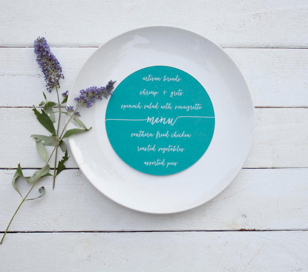 25+ Papaya Orange Wedding Plate Menu - Rustic Wedding Menu Cards - Custom Wedding Menu - Round Plate Menu Cards -  Many Colors Available