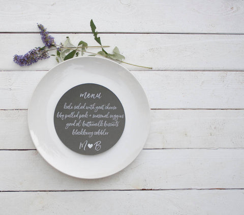 25+ Slate Gray Wedding Plate Menu - Rustic Wedding Menu Cards - Grey Custom Wedding Menu - Round Plate Menu Cards -  Many Colors Available